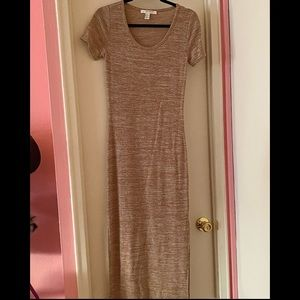 Forever 21 Oatmeal Thin Knit Bodycon Maxi Dress